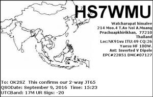 HS7WMU 20160909 1523 17M JT65