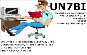 UN7BI 20170204 2112 40M JT65