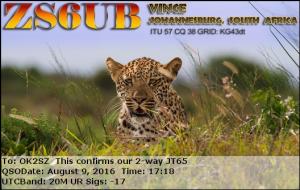 ZS6UB 20160809 1718 20M JT65